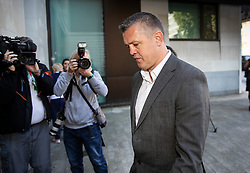 © Licensed to London News Pictures. 22/08/2019. London, UK. Paul Bussetti arrives at Westminster Magistrates Court. Bussetti of South Norwood, London is accused of sending a grossly offensive video on WhatsApp and causing footage of a menacing nature to be uploaded to YouTube after he filmed a burning effigy of Grenfell tower in 2018. 72 people died as a result of the blaze at the 24-storey block in west London in 2017. Photo credit: Peter Macdiarmid/LNP