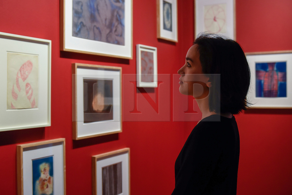"""© Licensed to London News Pictures. 17/02/2017. London, UK.   A staff member views works on paper by Louise Bourgeois and Yayoi Kusama, at a preview of """"Traumata: Bourgeois/Kusama"""".  The joint exhibition is dedicated to the work of Louise Bourgeois and Yayoi Kusama, and takes place at Sotheby's S/2 Gallery 23 February to 13 April. Photo credit : Stephen Chung/LNP"""