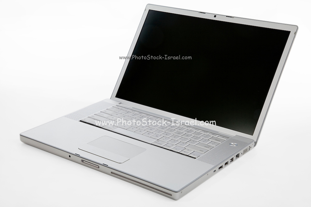Cutout of an unbranded laptop computer on white background