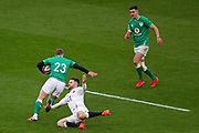 Elliott Daly of England  tap tackles Keith Earls of Ireland during the Six Nations international rugby union match between England and Ireland at Twickenham stadium, Sunday, Feb. 23, 2020, in London, United Kingdom.  England won the match 24-12. (Mitchell Gunn/ESPA-Images-Image of Sport)