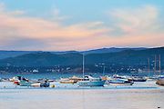 View from Sanary over the sea towards the mainland mountains at sunset, light faded blue, Provencal boats moored at buoys in the water Le Brusc Six Fours Var Cote d'Azur France