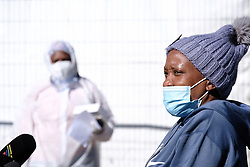 JOHANNESBURG, SOUTH AFRICA - JULY 03: Covid patient Mrs Segopodiso Seane describes her stay at the Nasrec quarantine and isolation site on July 03, 2020 in Johanneburg, South Africa. Gauteng MEC Dr Bandile Masuku visited the NASREC Quarantine Site to inspect facilities and monitor patient care experience. The site became operational on June 15. (Photo by Gallo Images/Dino Lloyd)