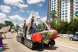 "Stock photo of the Houston Art Car Parade 2012 - ""Fighting Fish Tank"" - Artist: Leif Hart"