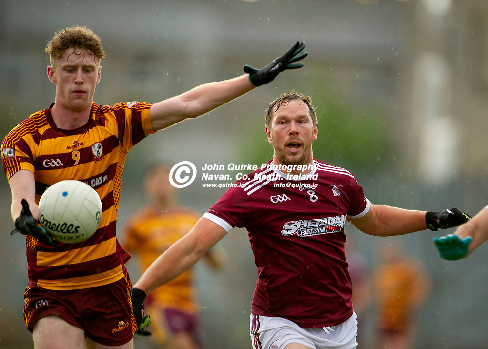 27-07-21. Carnaross v St. Vincent's Tailteann Cup Final 2020.<br /> Cian McGlynn, Carnaross in action against Robert Tallon, St. Vincents in the Meath Tailteann Cup Final 2020.<br /> Photo: John Quirke / www.quirke.ie<br /> ©John Quirke Photography, 16 Proudstown Road, Navan. Co. Meath. (info@quirke.ie / 046-9028461 / 087-2579454).