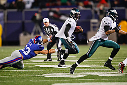 Philadelphia Eagles quarterback Michael Vick #7 carries the ball during the NFL game between the Philadelphia Eagles and the New York Giants on December 13th 2009. The Eagles won 45-38 at Giants Stadium in East Rutherford, New Jersey. (Photo By Brian Garfinkel)