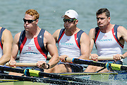Munich, GERMANY,  Friday morning heats, GBR  M8+. right to left,Greg SEARLE, Alex PARTRIDGE, Marcus BATEMAN. 2012 FISA World Cup III on the Munich Olympic Rowing Course,  Friday   15/06/2012. [Mandatory Credit Peter Spurrier/ Intersport Images]