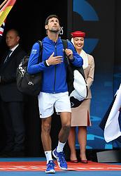 MELBOURNE, Jan. 27, 2019  Novak Djokovic of Serbia enters the court before the men's singles final match between Novak Djokovic of Serbia and Rafael Nadal of Spain at 2019 Australian Open in Melbourne, Australia, Jan. 27, 2019. (Credit Image: © Lui Siu Wai/Xinhua via ZUMA Wire)