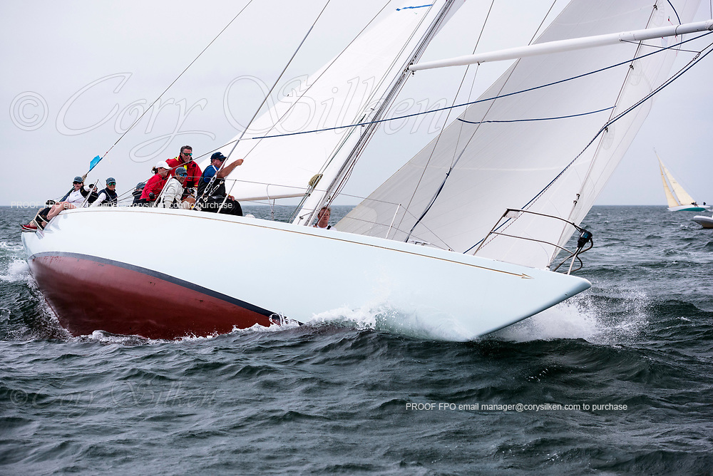 Weatherly sailing in the Sail Nantucket Regatta, day one.