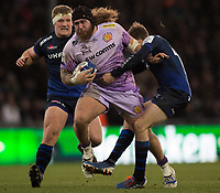 Exeter Chiefs' Harry Williams in action during todays match<br /> <br /> Photographer Bob Bradford/CameraSport<br /> <br /> European Rugby Heineken Champions Cup Group B - Exeter Chiefs v Sale Sharks - Sunday 15th December 2019 - Sandy Park - Exeter<br /> <br /> World Copyright © 2019 CameraSport. All rights reserved. 43 Linden Ave. Countesthorpe. Leicester. England. LE8 5PG - Tel: +44 (0) 116 277 4147 - admin@camerasport.com - www.camerasport.com