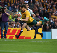 Australia's Adam Ashley-Cooper scoring the first try of the game during the Rugby World Cup Quarter Final match between Australia and Scotland at Twickenham, Richmond, United Kingdom on 18 October 2015. Photo by Matthew Redman.
