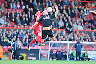 Charlton's Michael Morrison (5) battles for the ball with Bristol's Ryan Taylor. NPower championship, Bristol city v Charlton Athletic at Ashton Gate stadium in Bristol on Sunday 11th November 2012.  pic by Andrew Orchard, Andrew Orchard sports photography,