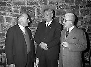 25/01/1962<br /> 01/25/1962<br /> 25 January 1962<br /> St. Brendan's College, Killarney Union Dublin Branch- Social Evening at the Grand hotel, Malahide, Co. Dublin. Picture shows the three oldest members chatting at the social (l-r): Miceal O'Siocfrada (1906-1911); Tim O'Brien (1919-1923) and Michael O'Brien (1918-1921).