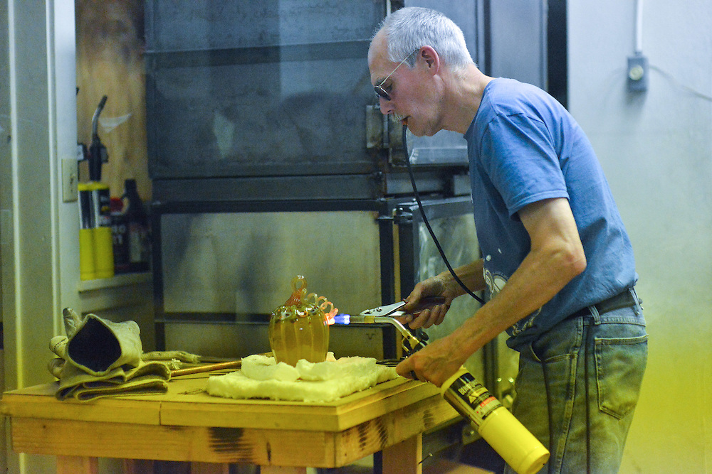 A glass making demonstration at the studio of Akron Glass Works.