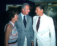 A 28.4 MG IMAGE OF:.The Reagans with Spiro Agnew at the Republican Convention in 1972..PHOTO BY DENNIS BRACK B 5