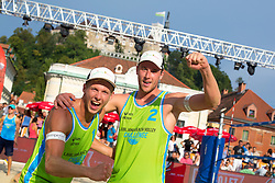 Florian Schnetzer and Michael Murauer of Austria at Beach Volleyball Challenge Ljubljana 2014, on August 2, 2014 in Kongresni trg, Ljubljana, Slovenia. Photo by Matic Klansek Velej / Sportida.com