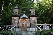 The wooden church Ruska Capela built by Russian Prisoners of War during WW1, in honour of their comrades who died building the Vrsic Pass road Ruska Cesta near kranjska Gora, on 22nd June 2018, in Triglav National Park, Julian Alps, Slovenia.