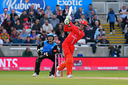 Keaton Jennings of Lancashire hits the ball over the boundary for six runs during the Vitality T20 Finals Day Semi Final 2018 match between Worcestershire Rapids and Lancashire Lightning at Edgbaston, Birmingham, United Kingdom on 15 September 2018.