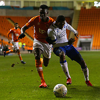 Blackpool's Armand Gnanduillet battles with Mansfield Town's Krystian Pearce<br /> <br /> Photographer Alex Dodd/CameraSport<br /> <br /> The EFL Checkatrade Trophy Second Round - Blackpool v Mansfield Town - Wednesday 6th December 2017 - Bloomfield Road - Blackpool<br />  <br /> World Copyright © 2018 CameraSport. All rights reserved. 43 Linden Ave. Countesthorpe. Leicester. England. LE8 5PG - Tel: +44 (0) 116 277 4147 - admin@camerasport.com - www.camerasport.com