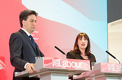 Ed Miliband <br /> leader of the Labour Party <br /> speech at RIBA Royal Institute of British Architecture, London, Great Britain <br /> 29th April 2015 <br /> General Election Campaign 2015 <br /> <br /> <br /> Ed Miliband with Rachel Reeves <br /> <br /> <br /> Photograph by Elliott Franks <br /> Image licensed to Elliott Franks Photography Services