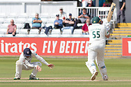 Mark Cosgrove pulls and avoids Cameron Steel during the Specsavers County Champ Div 2 match between Durham County Cricket Club and Leicestershire County Cricket Club at the Emirates Durham ICG Ground, Chester-le-Street, United Kingdom on 21 August 2019.