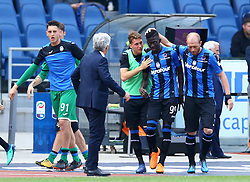 May 6, 2018 - Rome, Italy - Musa Barrow of Atalanta celebrates with the teammates after the goal of 0-1 at Olimpico Stadium in Rome, Italy on May 6, 2018. (Credit Image: © Matteo Ciambelli/NurPhoto via ZUMA Press)