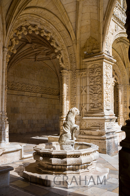Water fountain with statue of lion at famous Monastery of Jeronimos - Mosteiro  dos Jeronimos in Lisbon, Portugal
