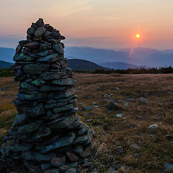 Cairn at sunrise on the Appalachian Trail - Mount Moosilauke, White Mountains, New Hampshire.