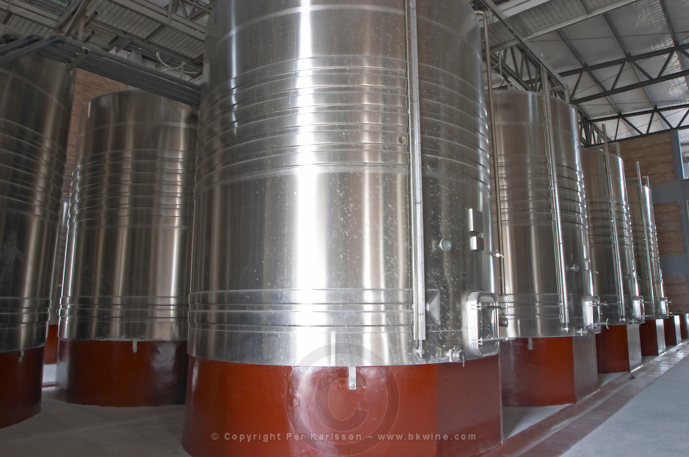 The winery under construction. The vat hall with stainless steel tanks. Bodega Valle Perdido (previously Arquen) Winery, Neuquen, Patagonia, Argentina, South America