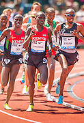 EDWIN CHERUIYOT SOI (KEN) is back off the lead early in the race but then cruised to victory in the Mens 5000m competition during the second day of the Diamond League event Prefontaine Classic held at the University of Oregons Hayward Field.The Prefontaine Classic is named for University of Oregon track legend Steve Prefontaine.competition during the second day of the Diamond League event Prefontaine Classic held at the University of Oregons Hayward Field.The Prefontaine Classic is named for University of Oregon track legend Steve Prefontaine.