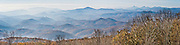 See the Blue Ridge Mountains and Wilson Creek Valley (2400 feet elevation), Pisgah National Forest, at Blue Ridge Parkway Milepost 302.0 at elevation 4356 feet, North Carolina, USA. Wilson Creek is one of the streams originating on Grandfather Mountain. Panorama stitched from 4 overlapping photos.