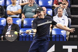 October 4, 2018 - St. Louis, Missouri, U.S - JIM COURIER returns the ball during the Invest Series True Champions Classic on Thursday, October 4, 2018, held at The Chaifetz Arena in St. Louis, MO (Photo credit Richard Ulreich / ZUMA Press) (Credit Image: © Richard Ulreich/ZUMA Wire)