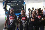 """Ann Osman, Malaysia WMMA star, on her way to the stadium<br /><br />MMA. Mixed Martial Arts """"Tigers of Asia"""" cage fighting competition. Top professional male and female fighters from across Asia, Russia, Australia, Malaysia, Japan and the Philippines come together to fight. This tournament takes place in front of a ten thousand strong crowd of supporters in Pelaing Stadium. Kuala Lumpur, Malaysia. October 2015"""