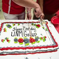 One of the two cakes served in Gurley Hall celebrating 50 years of the University of New Mexico-Gallup, Thursday Sept. 27, 2018.