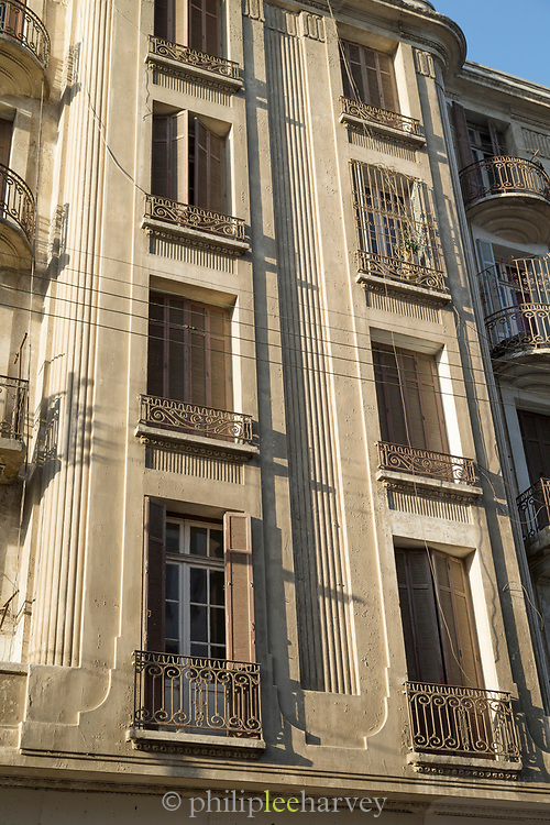 Art deco architecture detail with windows on Boulevard Mohammed V, Casablanca, Morocco
