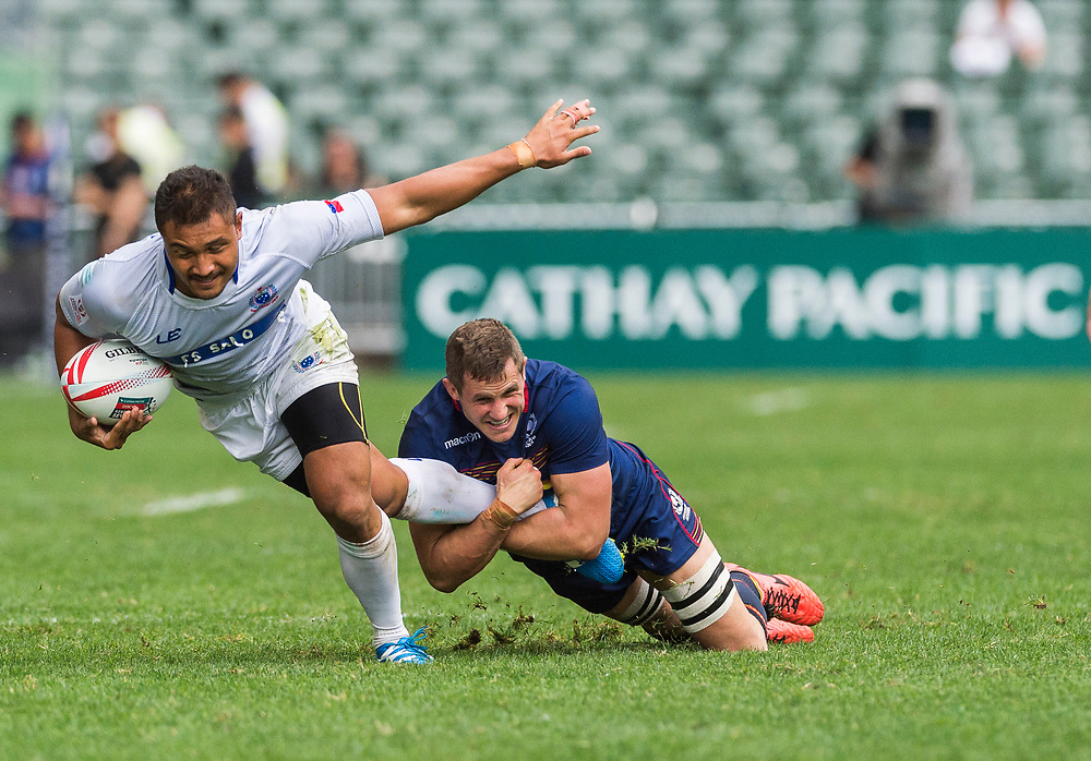 Samoa vs Scotland during their HSBC World Rugby Sevens Series Bowl Quarter Final match as part of the Cathay Pacific / HSBC Hong Kong Sevens at the Hong Kong Stadium on 09 April 2017 in Hong Kong, China. Photo by Mike Pickles / Future Project Group