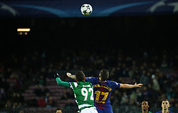 December 5, 2017 - Barcelona, Catalonia, Spain - Cristiano Piccini and Paco Alcacer during the UEFA Champions League match between FC Barcelona v Sporting CP, in Barcelona, on December 05, 2017. (Credit Image: © Joan Valls/NurPhoto via ZUMA Press)