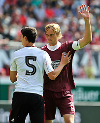 24.07.2010, Fritz-Walter Stadion, Kaiserslautern, GER, 1. FBL, Friendly Match, 1.FC Kaiserslautern vs FC Liverpool, im Bild Daniel AYALA (Liverpool #5), Martin AMEDICK (Kaiserslauern #5 GER), EXPA Pictures © 2010, PhotoCredit: EXPA/ nph/  Roth+++++ ATTENTION - OUT OF GER +++++ / SPORTIDA PHOTO AGENCY