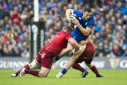 October 7, 2017 - Dublin, Ireland - Robbie Henshaw of Leinster tackled by Dave Kilcoyne of Munster during the warm-up during the Guinness PRO14 match between Leinster Rugby and Munster Rugby at Aviva Stadium in Dublin, Ieland on October 7, 2017  (Credit Image: © Andrew Surma/NurPhoto via ZUMA Press)