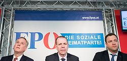 """13.02.2018, Bundespartei, Wien, AUT, FPÖ, Präsekonferenz zum Thema """"Präsentation der Beschlüsse des Bundesvorstandes zur Aufarbeitung der eigenen Vergangenheit"""" . im Bild Geschäftsführender FPÖ-Klubobmann Walter Rosenkranz, Mitglied des Europaparlaments und Generalsekretär FPÖ Harald Vilimsky und FPÖ-Klubobmann Johann Gudenus // Managing party whip of the Austrian Freedom Party Walter Rosenkranz, MEP Harald Vilimsky (Europe of Nations and Freedom Group ) and Party whip of the Austrian freedom party Johann Gudenus during media conference of the austrian freedom party in Vienna, Austria on 2018/02/13. EXPA Pictures © 2018, PhotoCredit: EXPA/ Michael Gruber"""
