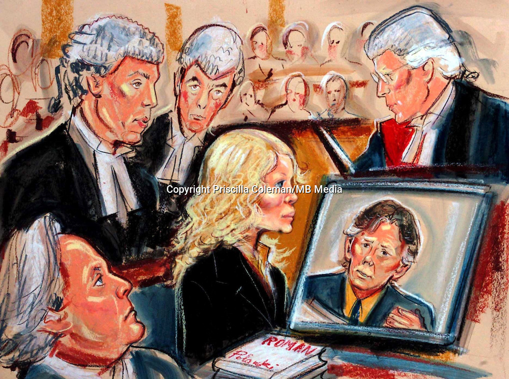 © PRISCILLA COLEMAN ITV NEWS 19.07.05.SUPPLIED BY PHOTONEWS SERVICE LTD.DRAWING SHOWS MIA FARROW LISTENING TO EVIDENCE BY ROMAN POLANSKI VIA VIDEO SCREEN IN PARIS ..SEE STORY