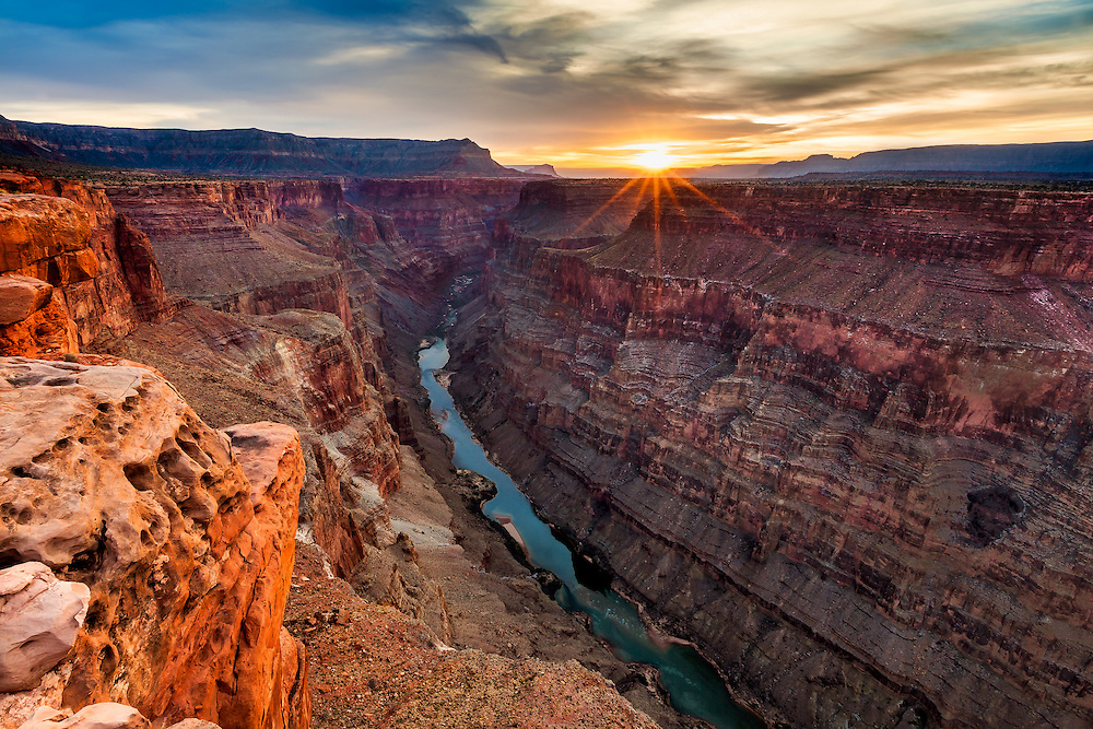 Sunrise at the remote Toroweap Overlook on the North Rim of the Grand Canyon in Arizona