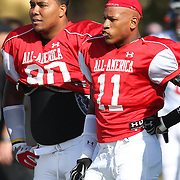 Gabe Wright (90) and Ryan Shazier (11) watch plays during the practice session at the Walt Disney Wide World of Sports Complex in preparation for the Under Armour All-America high school football game on December 3, 2011 in Lake Buena Vista, Florida. (AP Photo/Alex Menendez)