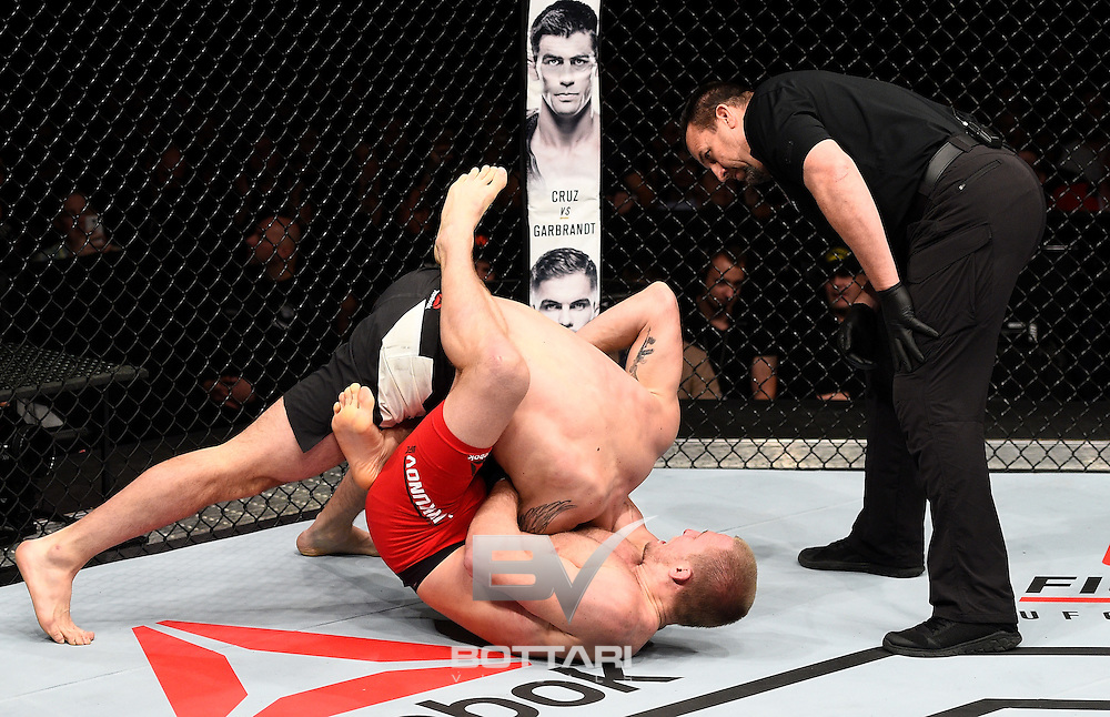TORONTO, CANADA - DECEMBER 10:  (R-L) Misha Cirkunov of Latvia secures a guillotine choke submission against Nikita Krylov of Ukraine in their light heavyweight bout during the UFC 206 event inside the Air Canada Centre on December 10, 2016 in Toronto, Ontario, Canada. (Photo by Jeff Bottari/Zuffa LLC/Zuffa LLC via Getty Images)