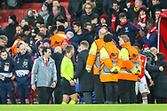 Arsenal Head Coach Unai Emery heads towards the tunnel after the Europa League match between Arsenal and Eintracht Frankfurt at the Emirates Stadium, London, England on 28 November 2019.