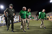 Marshall Thundering Herd head coach Doc Holliday walks to the locker room after losing to the North Texas Mean Green at Apogee Stadium in Denton, Texas on October 8, 2016. (Cooper Neill for The Herald-Dispatch)