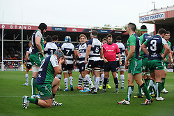 Bristol Rugby celebrate Bristol Rugby's Olly Robinson's try - Photo mandatory by-line: Dougie Allward/JMP - Mobile: 07966 386802 - 12/10/2014 - SPORT - Rugby - Bristol - Ashton Gate - Bristol Rugby v Connacht Eagles - B&I Cup
