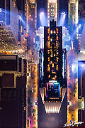 Aerial view of Rockefeller Center, 30 Rock, Top of the Rock, in New York City, photographed at night from a helicopter.