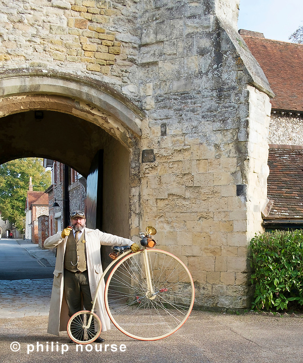 Penny-farthing outside the Bishop's Palace, Chichester