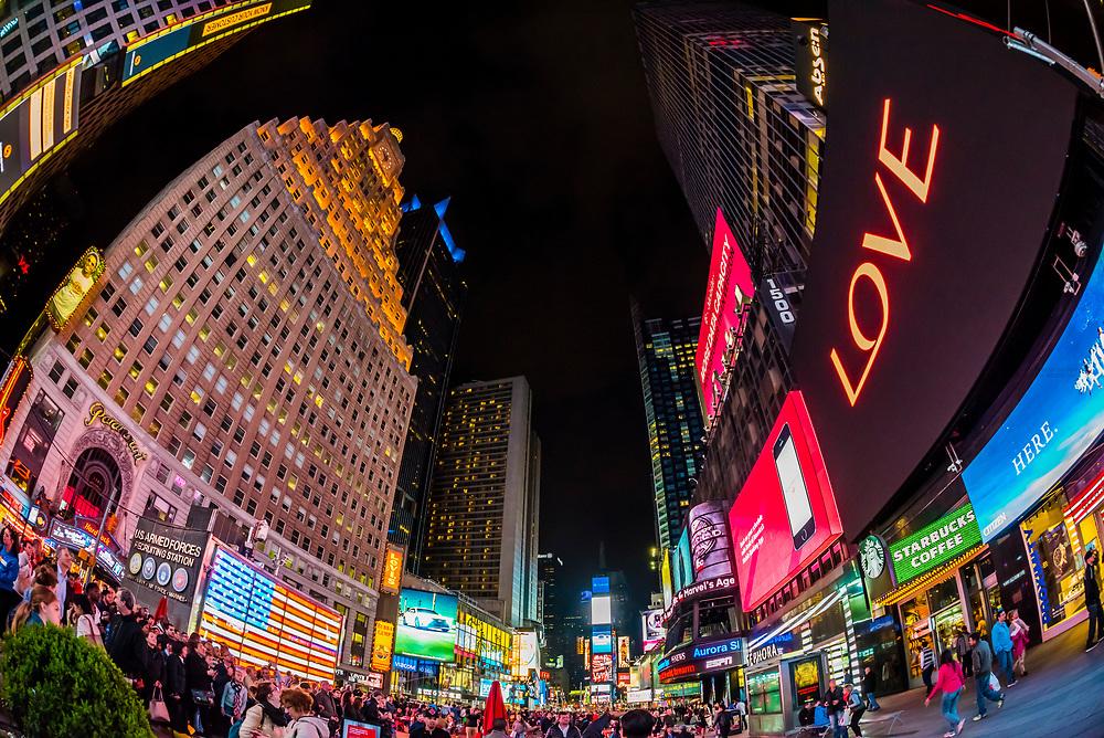 Times Square at night, New York, New York USA.
