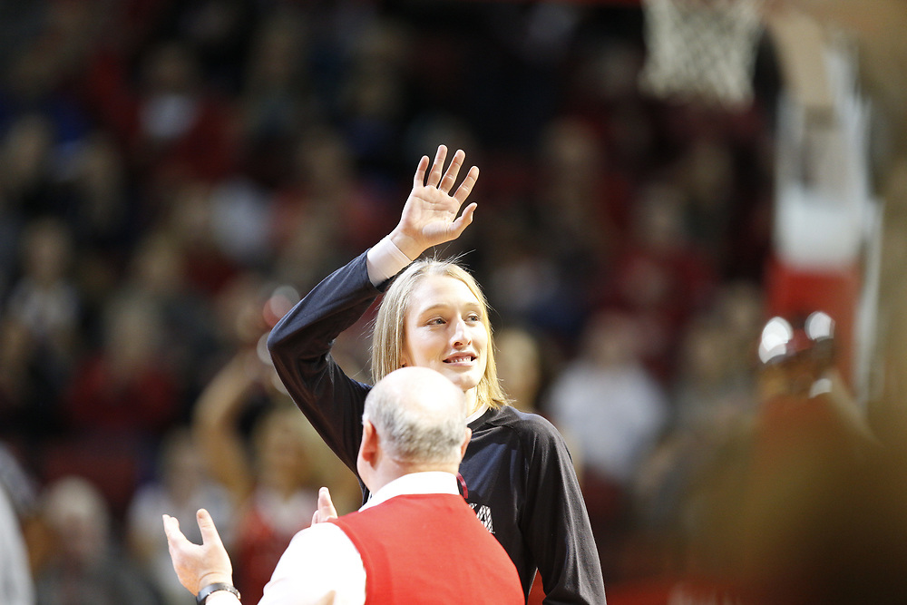 Former Husker Danielle Page is honored during Nebraska's 84-41 loss to No. 1-ranked UConn at Pinnacle Bank Arena in Lincoln, Neb. on Dec. 21, 2016. Photo by Aaron Babcock, Hail Varsity